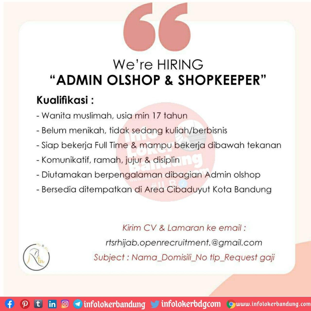 Lowongan Kerja Admin Olshop & Shopkeeper RTS Hijab Bandung Agustus 2020