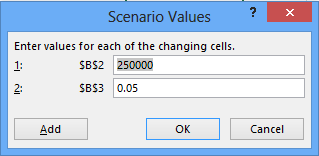 Enter value pairs for the changing cells