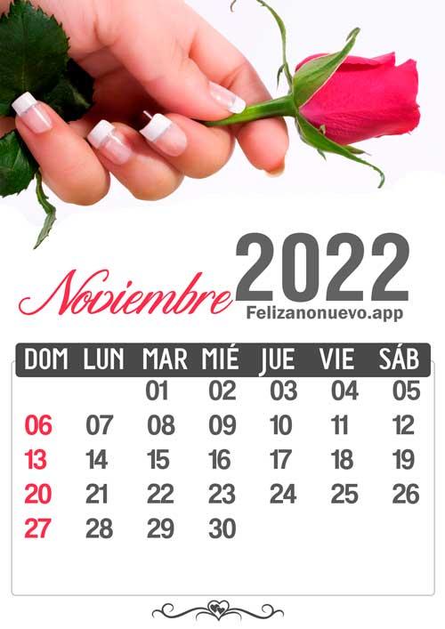 Calendario mes de noviembre 2022 para imprimir