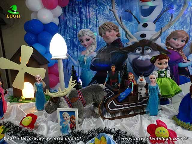 Decoração de mesa de aniversário Frozen - Festa feminina
