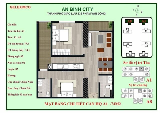 Mặt bằng thiết kế căn hộ A1 - 74m2 An Bình City