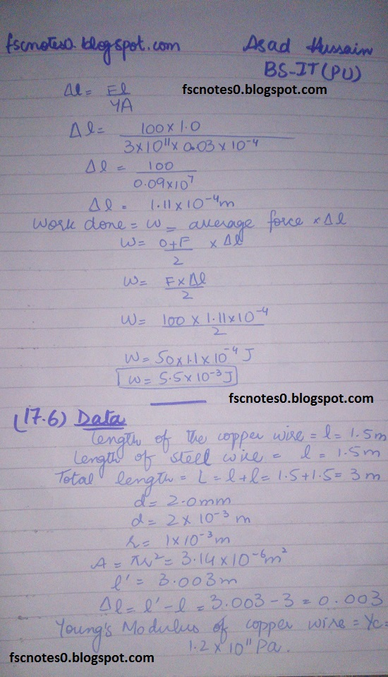 F.Sc ICS Notes: Physics XII: Chapter 17 Physics of Solids Numerical Problems by Asad Hussain 4