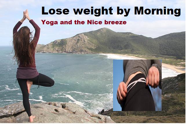 Perca peso pela ioga da manhã e a brisa agradável