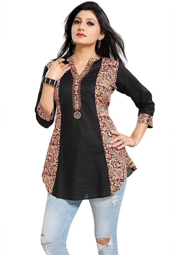 Color Petal Printed Designer Cotton Short Kurti Tunic Top for Women