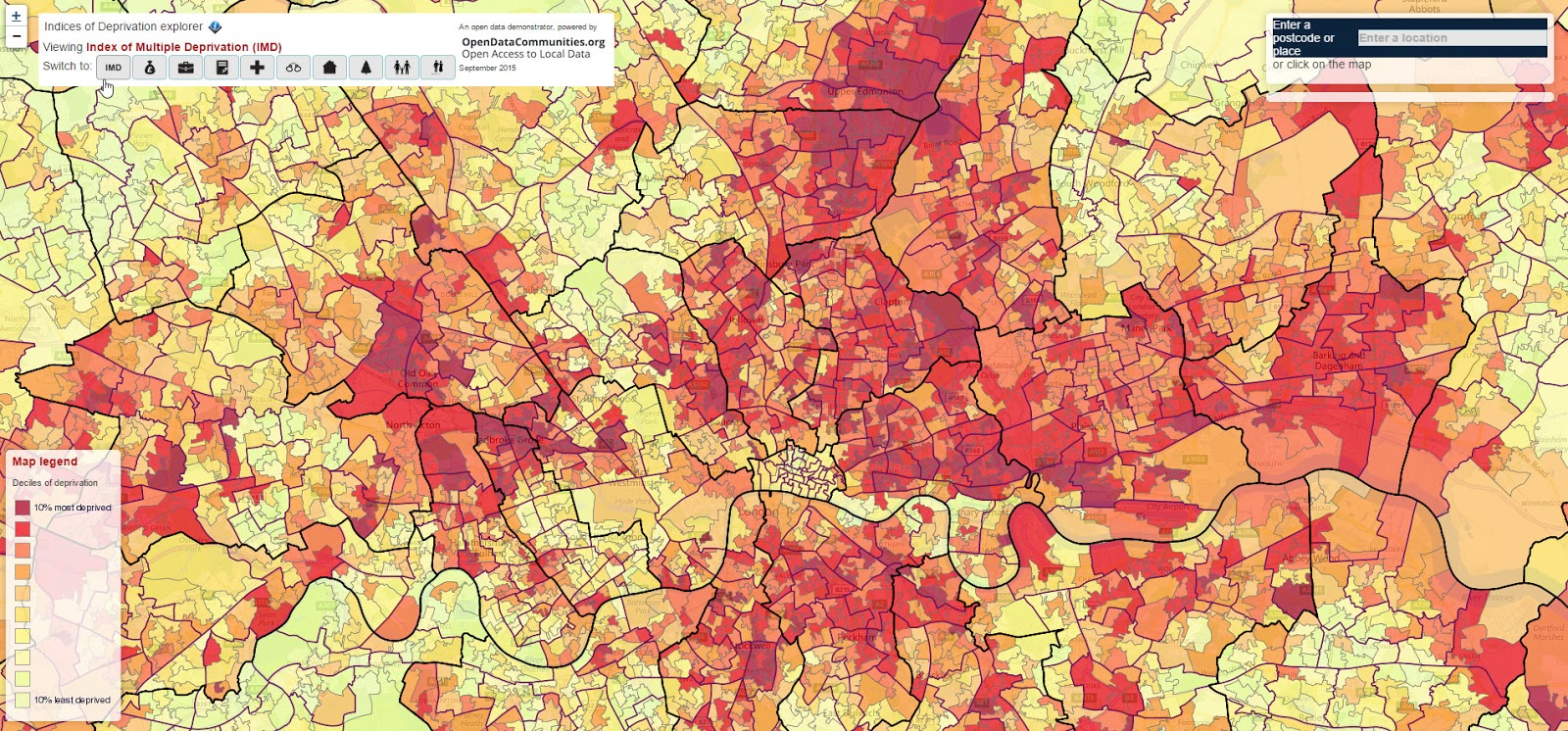 Index of multiple deprivation - London