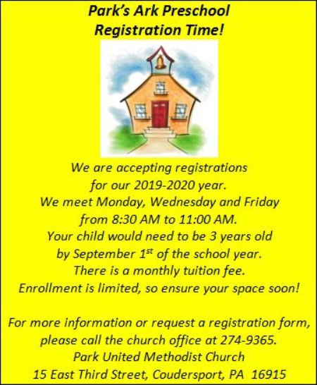 Park's Ark Preschool Registration Now Available