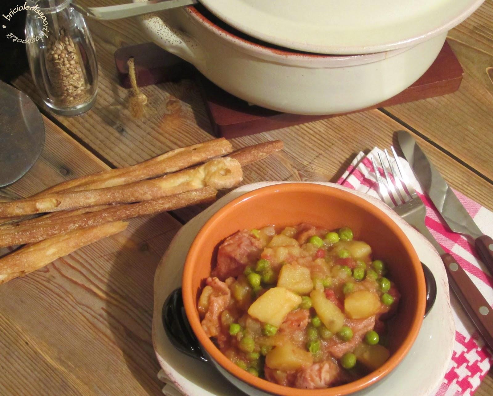 ricetta spezzatino con patate e piselli