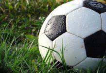 شكل كرة قدم بيضاء اللون وعشب أخضر
