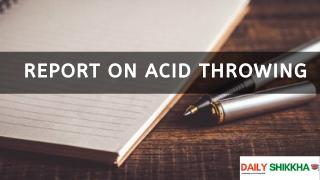 Report on Acid Throwing