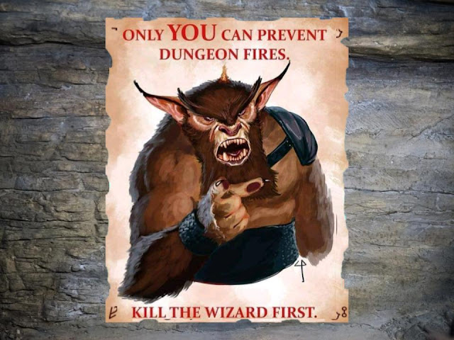 Only you can prevent dungeon fires. Kill the wizard first.