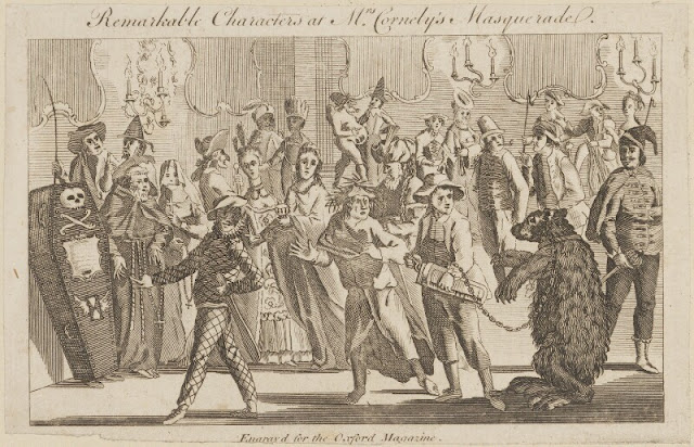 Remarkable characters at Mrs Cornelys Masquerade - artist unknown (By permission of the National Portrait Gallery)