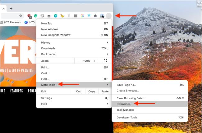 افتح مدير الإضافات في Chrome