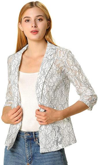 Trendy Lace Blazers Jackets for Women
