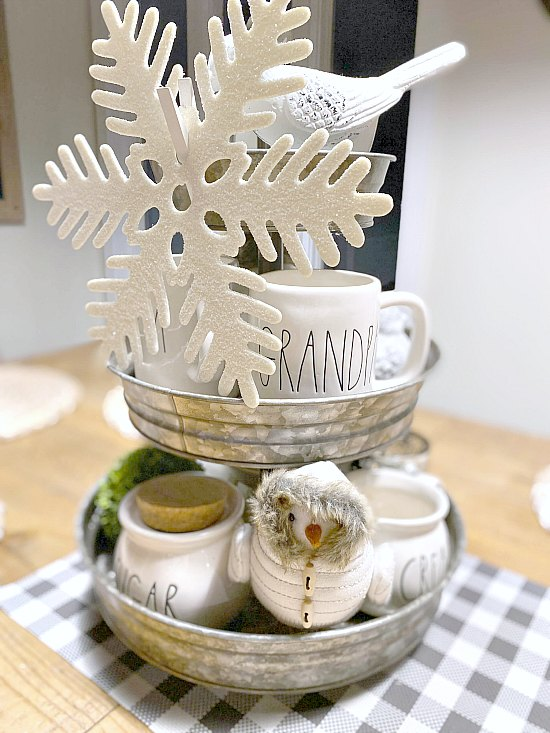 Decorate a Tiered Tray in Neutrals for Winter