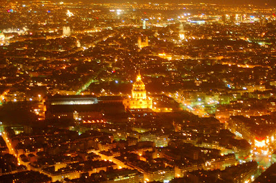 View of Paris from Eiffel Tower at night.