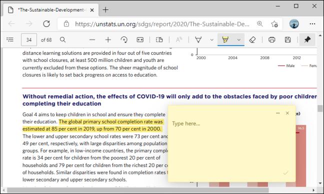 مربع التعليق على PDF في Microsoft Edge