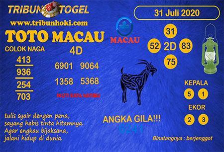 Prediksi Tribun Togel Toto Macau Jumat 31 Juli 2020