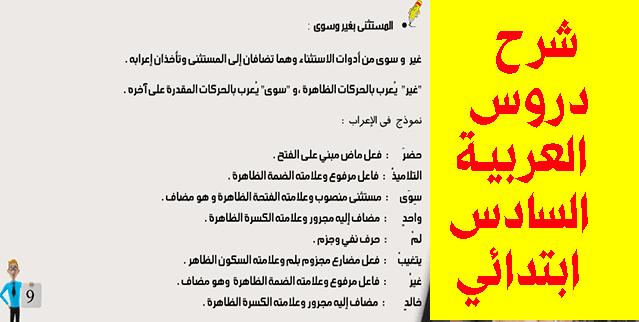 شرح دروس العربية السادس ابتدائي: التوكيد، المفعول معه، المستثنى، العدد والمعدود