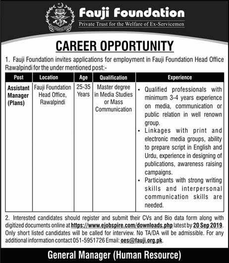 Assistant Manager Jobs in Fauji Foundation