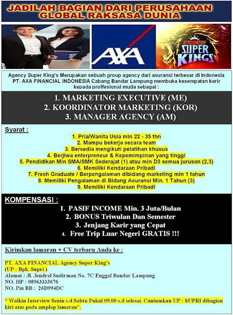 Lowongan Kerja Terbaru Di Bandar Lampung Loker Lowongan Kerja Terbaru September 2016 Lowongan Kerja Axa Financial Indonesia Lampung Agency Super Kings
