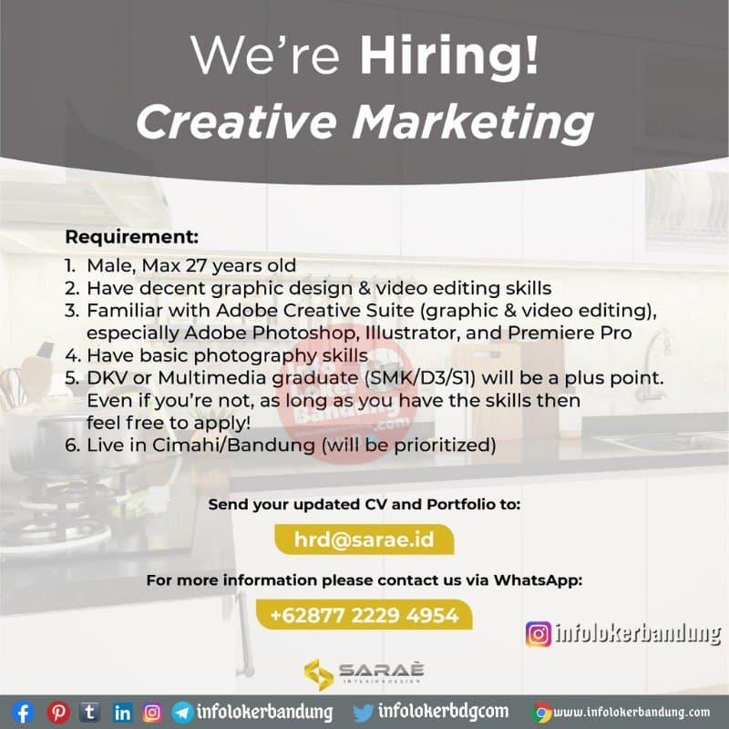 Lowongan Kerja Creative Markating Sarae Interior Bandung Januari 2021