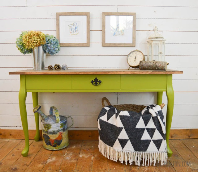 hand painted console table, green furniture, chalk painted sofa table, painted sofa table ideas, rustic console table, sofa table makeover