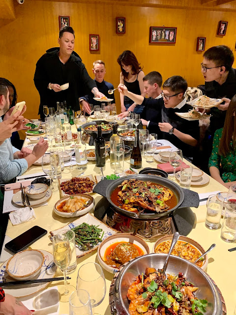 Gok Wan, Jeremy Pang and guests at Golden Chopsticks roadshow dinner, Jinli, Chinatown, London