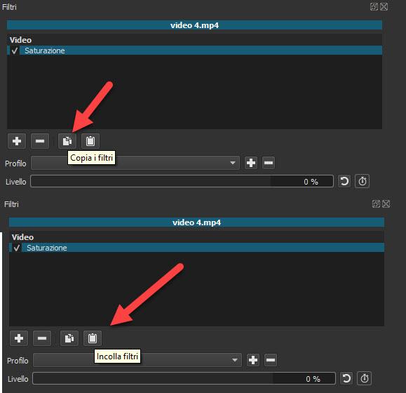 copiare e incollare i filtri su Shotcut