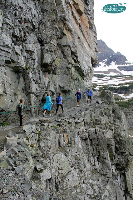 owing the rope line on highline trail glacier national park montana family hiking trip outdoors mountains nature beauty