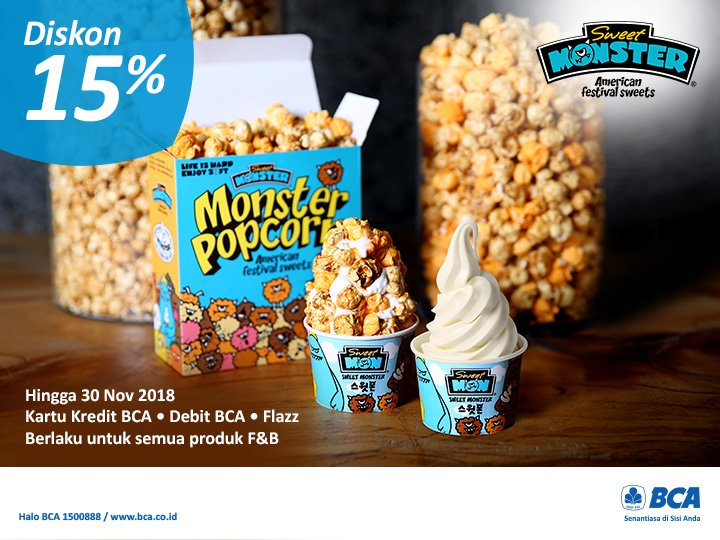 Bank BCA - Promo Sweet Monster Diskon s.d 15 % (s.d 30 Nov 2018)