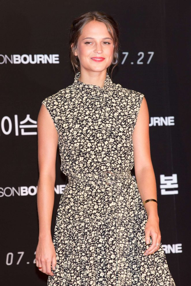 Alicia Vikander at the 'Jason Bourne' photocall in Seoul