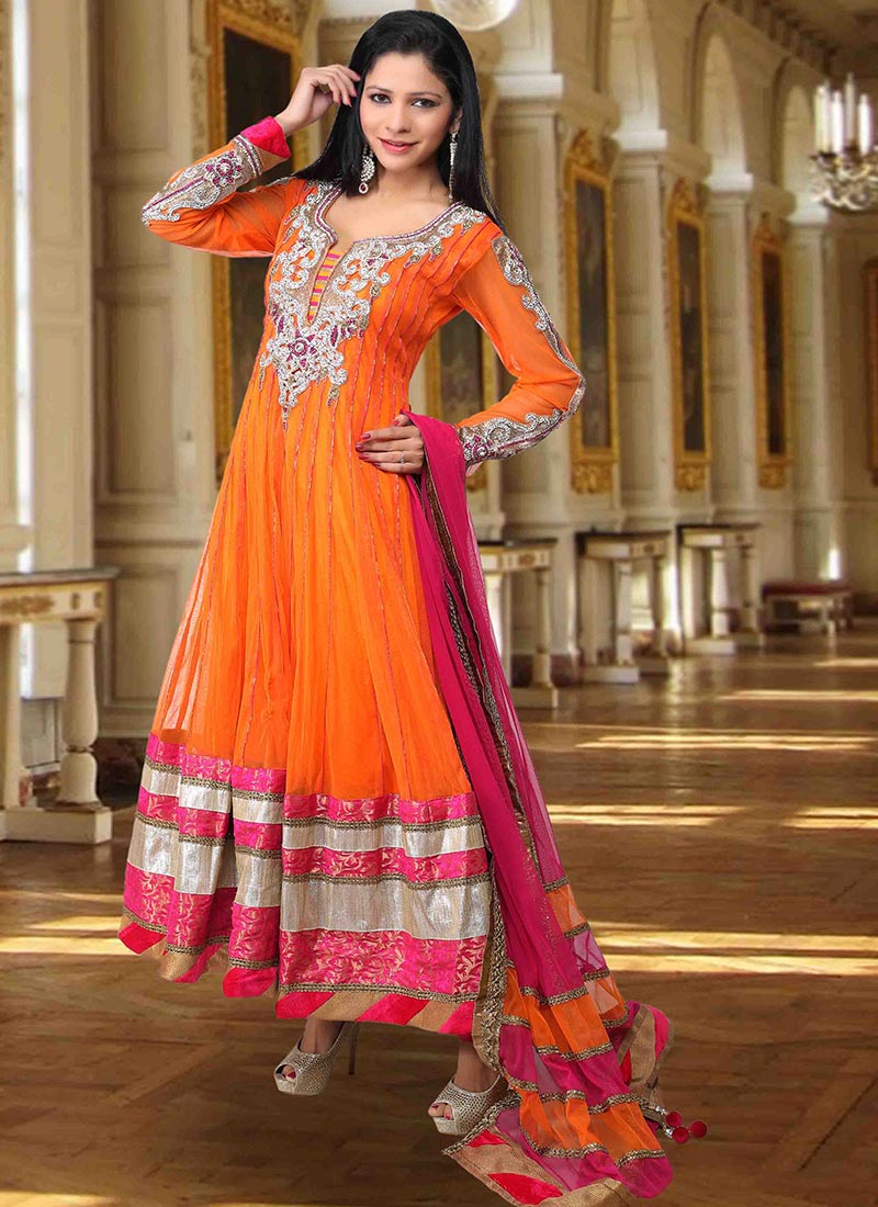 Orange Embroidered Net Anarkali Suit