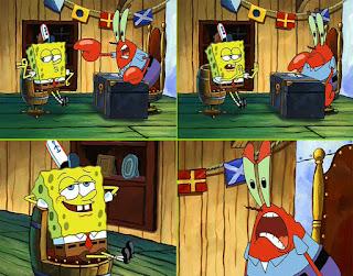 Polosan meme spongebob dan patrick 50 - tuan krab memarahi spongebob, spongebobnya malah santai / santuy