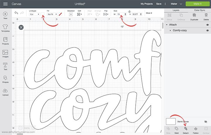Comfy Cozy Pillow Cricut Design Space