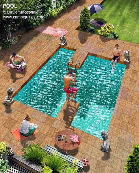 Bir havuzun iki ucuna uzanan imkansız merdiveni gösteren çizim