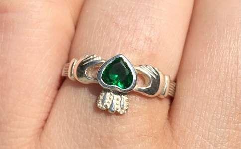Gold Emerald Claddagh Ring