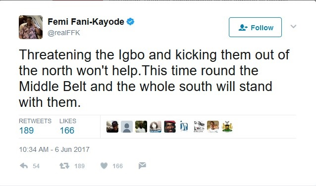 Expelling Ibos from Northern Nigeria will have grave consequences – Fani-Kayode