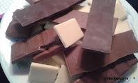 Crema de cacao con chocolate blanco, negro  cobertura y chocolate con leche