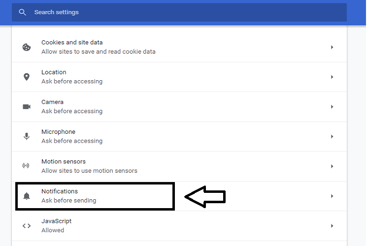 Disable Web Push Notifications from Google Chrome