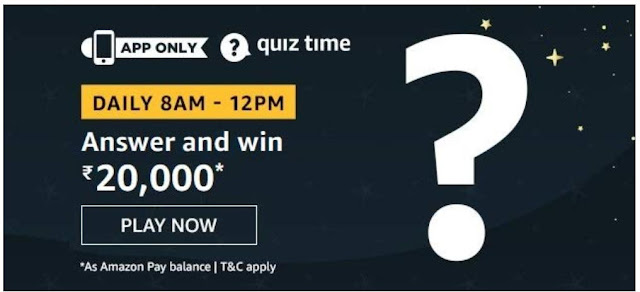 Amazon Quiz Answers Today 03 August 2020 Win 20000 Rupees