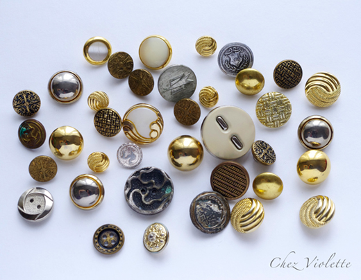 vintage buttons silver gold - The collection of vintage button by Chez Violette