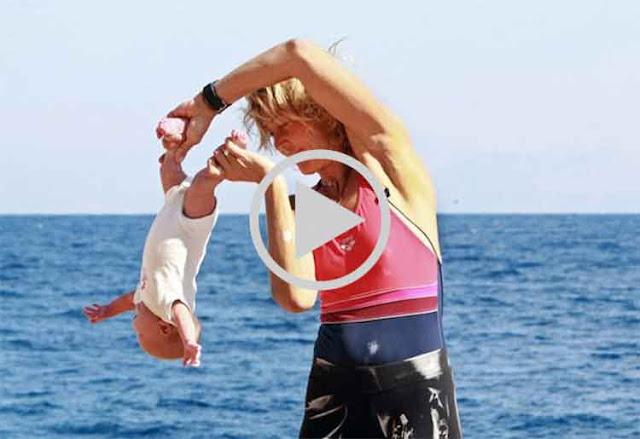 Pasti Anda Ngilu Ketika Melihatnya,Video Yoga Bayi Ekstrim Dengan Cara Dilempar dan Diputar-putar