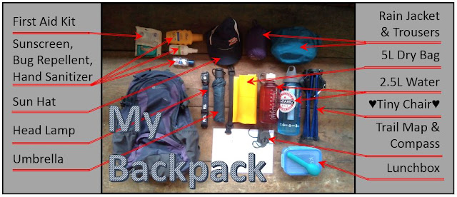 My backpack and all the equipment laid out around it: first aid kit, sunscreen, bug repellent, hand sanitizer, sun hat, head lamp, umbrella, tiny chair, trail map and compass, lunchbox, rain jacket and trousers, 5 litre dry bag, 2.5 litres of water
