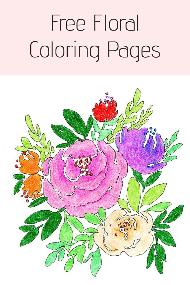 Free Printable Flowers Coloring Page by Elise Engh Studios