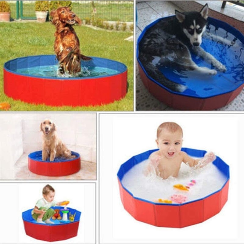 70% OFF 12 x 8inch Foldable Dog Pool Hard Plastic Collapsible Pet Bath Tub for Puppy Small Dogs Cats and Kids