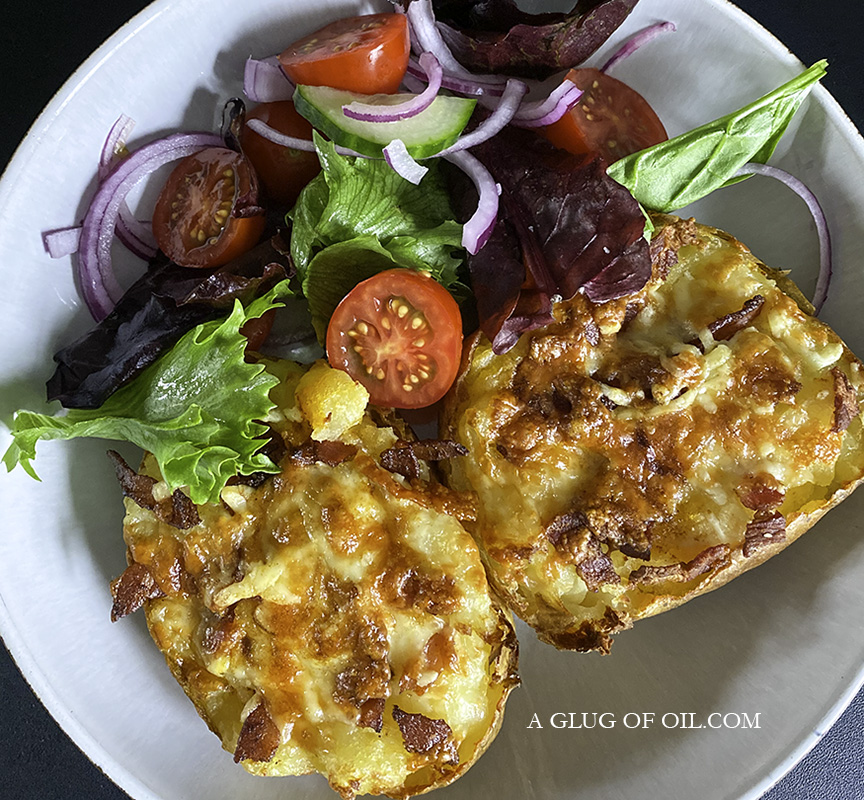 Cheesy Stuffed Baked Potatoes with side salad
