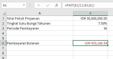 Menghitung cicilan pinjaman dengan excel