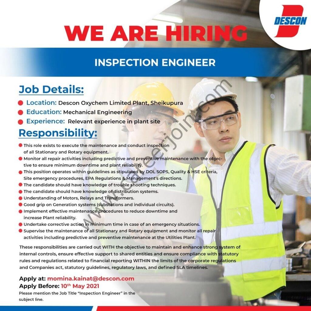 Descon Oxychem Limited Jobs 22021 For Inspection Engineer Post - Descon Engineering Jobs 2021 - Apply via momina.kainat@descon.com