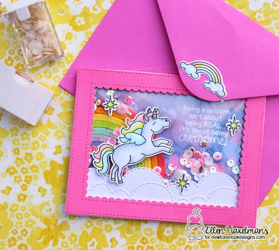 Unicorn Card by Ellen Haxelmans | Believe in Unicorns Stamp Set & Sky Borders Die set by Newton's Nook Designs #newtonsnook