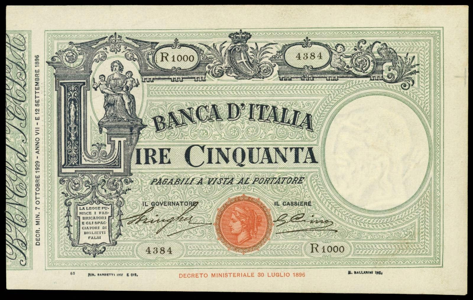 Italy 50 Lire banknote bill